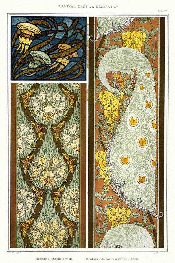 Art Nouveau Animal Designs jellyfish and seaweed