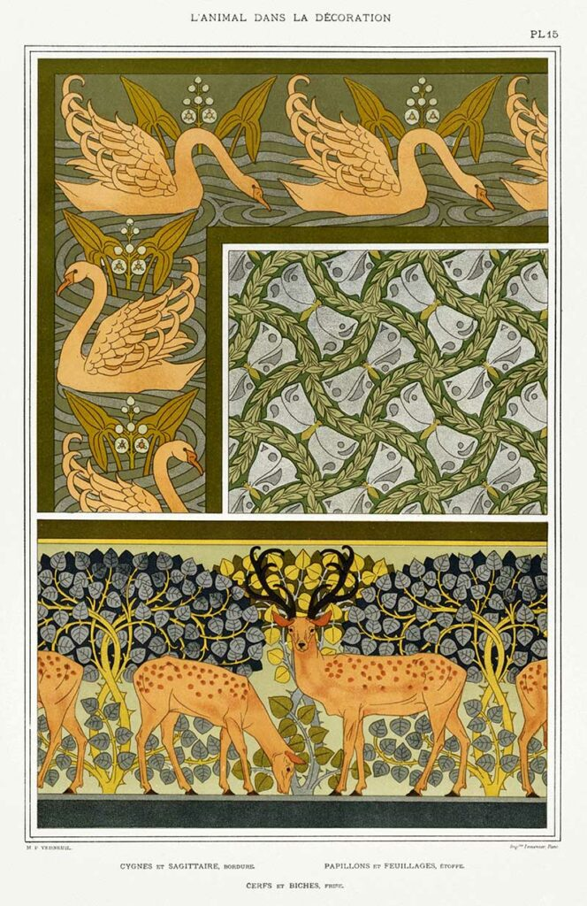 Swans and Deer Art Nouveau animal designs