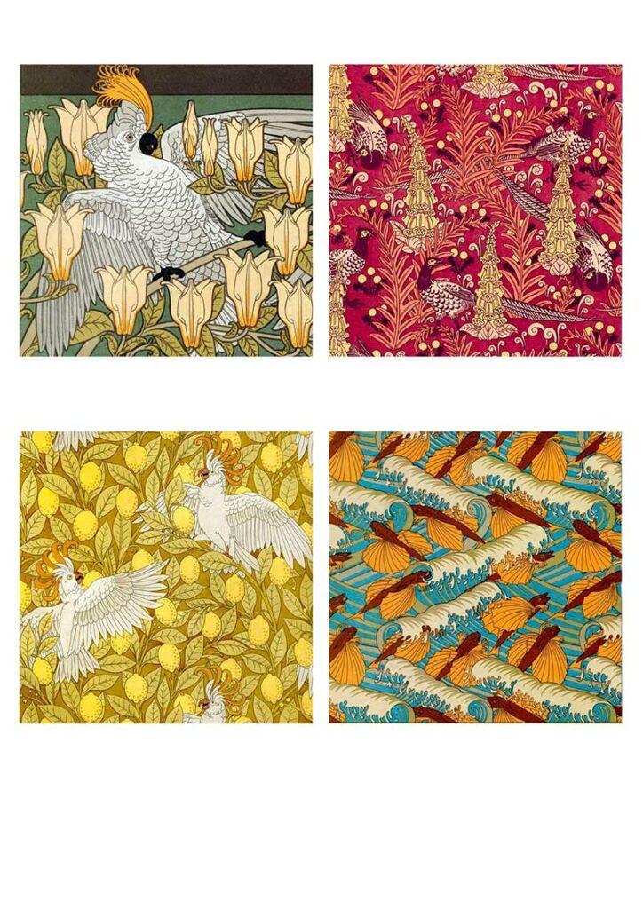 Art nouveau patterns for tile coasters
