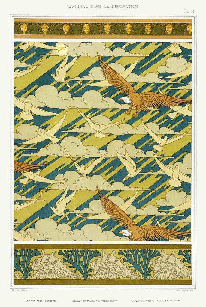 clouds-eagles-art-nouveau-pattern