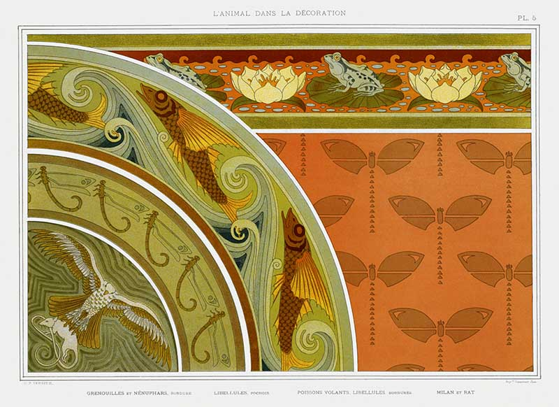 Frogs and lilies art nouveau animal designs