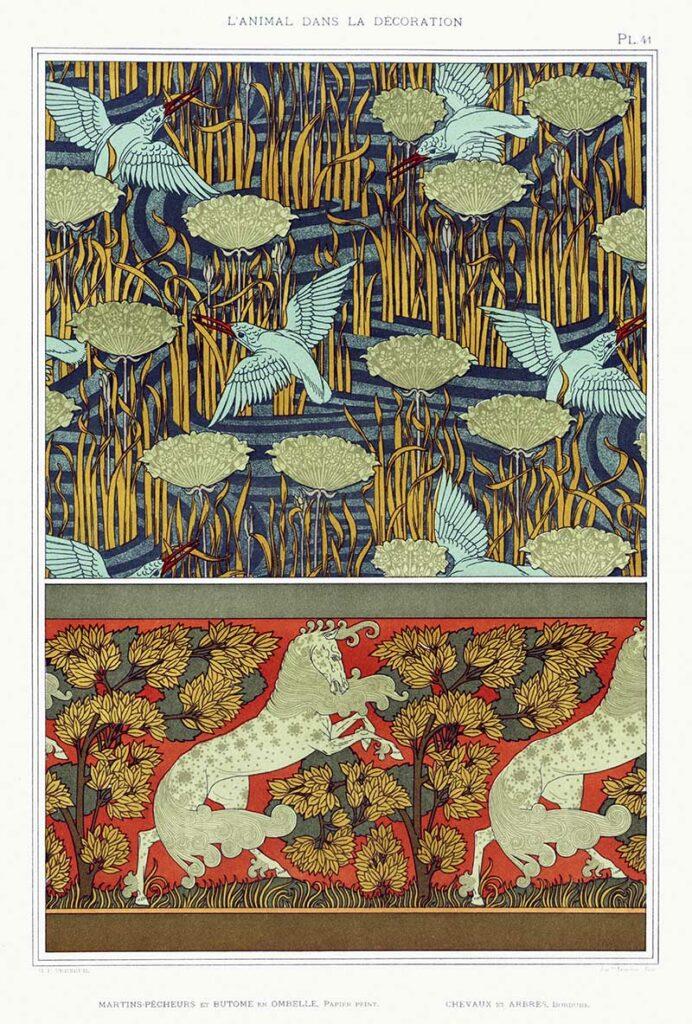 kingfishes-horsest-art-nouveau-pattern