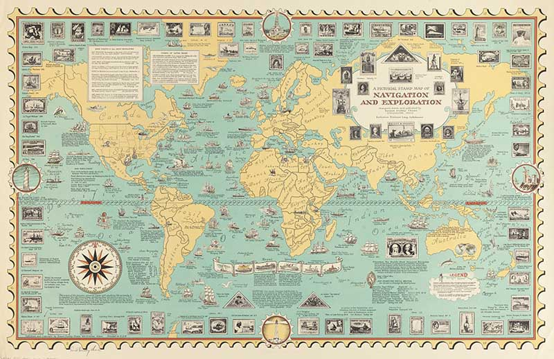 Ernest Dudley Chase Pictorial Stamp Navigation Map