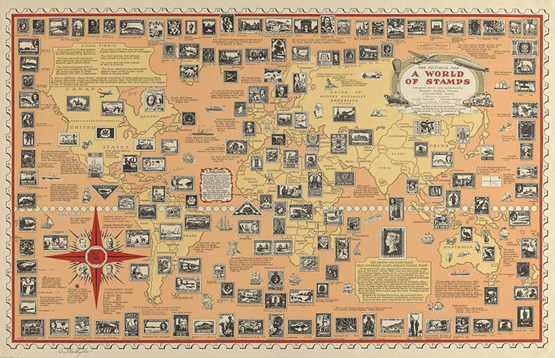 Pictorial Map of World of Stamps