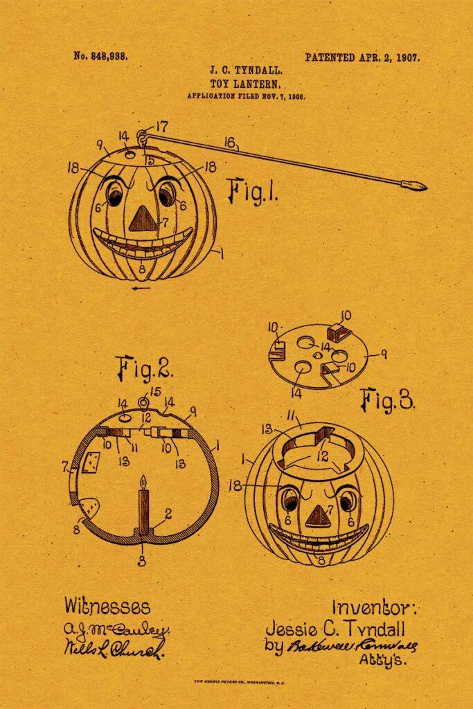 Halloween Patent for Jack-o'-lantern toy