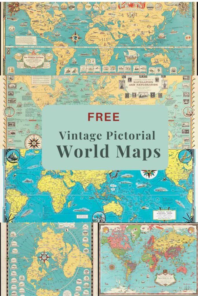 Vintage pictorial world maps