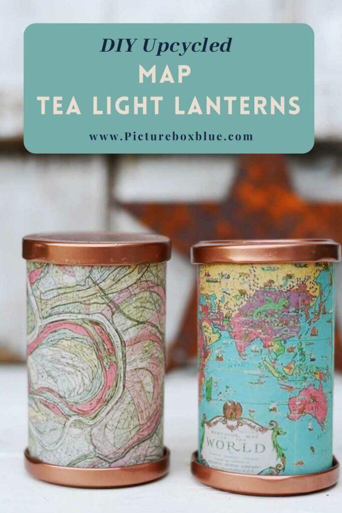 DIY map tea light lanterns