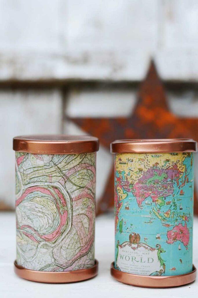 Map tea light lanterns
