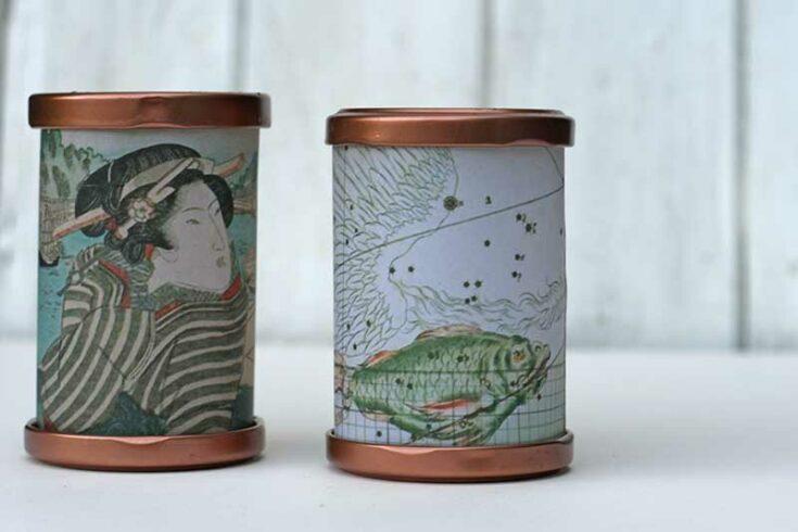 Vintage image tea light lanterns