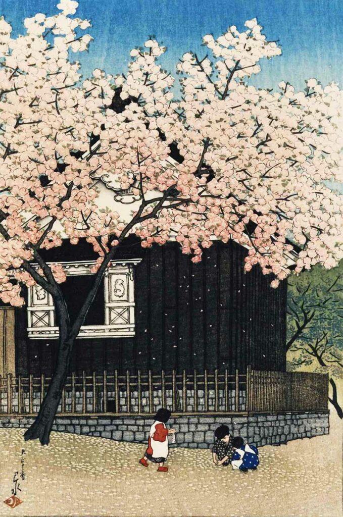 Atagoyama in Spring_by_Kawase_Hasui