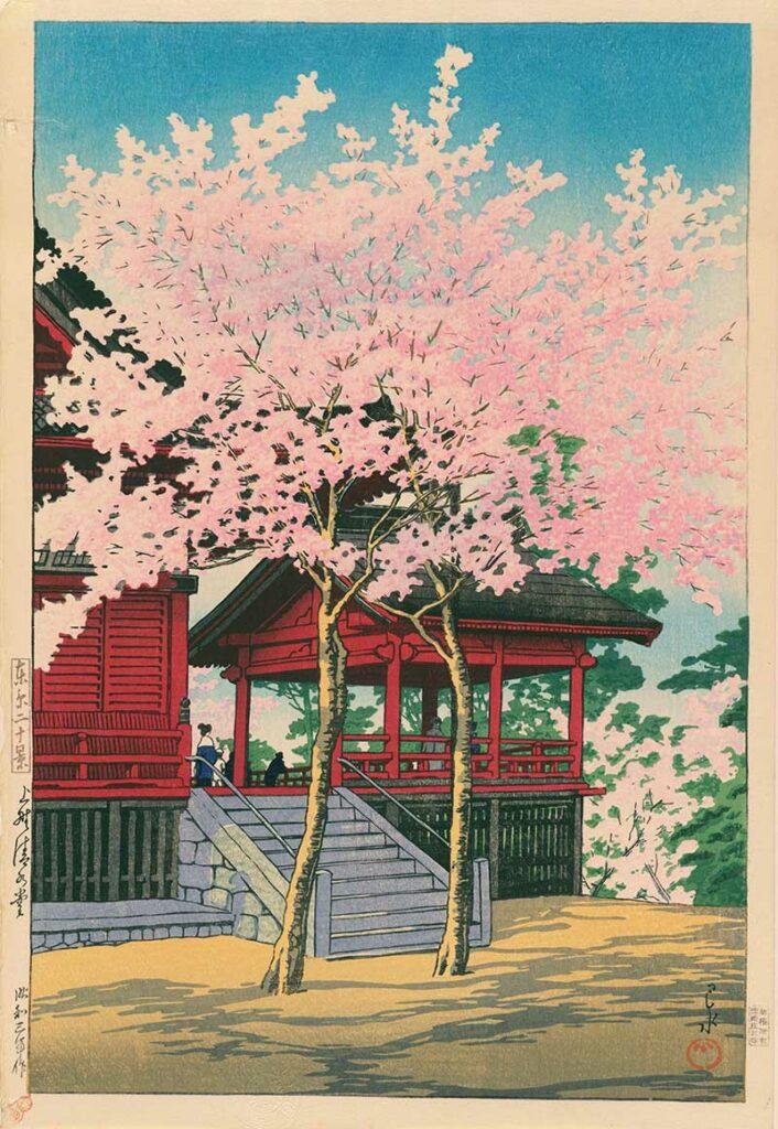 Kawase_Hasui_temple cherry blossom